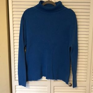 Bright Blue ribbed knit turtleneck sweater